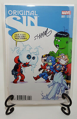 Original Sin #1 Baby Variant Cover Signed By Skottie Young Marvel Deadpool Hulk