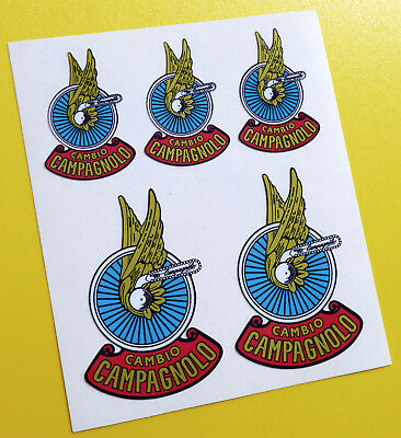 Campagnolo 'Wing' style Vintage Cycle Bike Frame Decals Stickers metallic ink