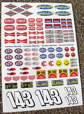 RC Vintage BAJA RACER Decals stickers VW Sand Scorcher