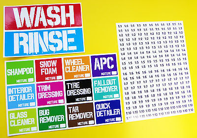 Maxolen UK Wash /& Rinse Detailing Bucket Vehicle Car Cleaning Stickers Decals