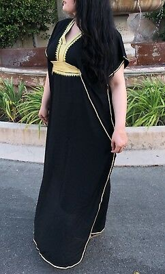 Moroccan Caftan Women kaftan Abaya Beach Summer Long Dress Cotton black