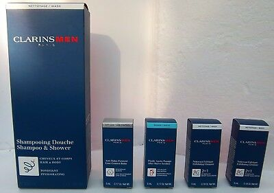 Clarins Men Shampoo & Shower 200Ml + 4 Travel Size Items - All 5 Are New & Boxed
