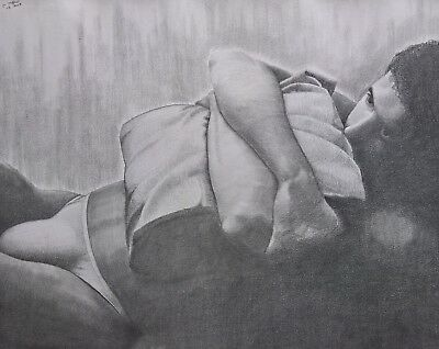 Unique dessin au crayon:nu masculin - OOAK pencil drawing:male nude. Gay.