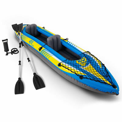 11.5ft Goplus 2-Person Inflatable Canoe Boat Kayak W/ Pump Paddle Water Sport