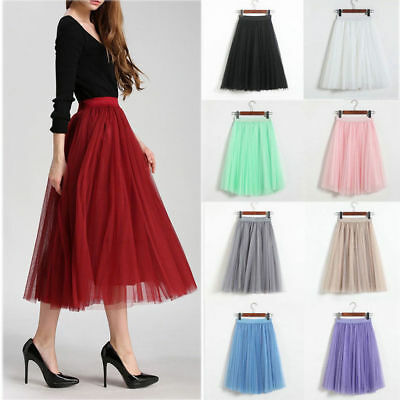 Sweet Style 3 Layers Tutu Skirt Princess Women Petticoat Ballet Tulle Long Dress