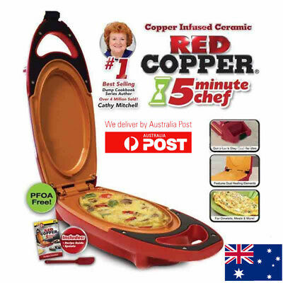 Hot Red Copper 5-Minute Chef - Omelette Pan The Non-stick Omlette Maker Cooker