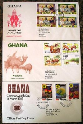 Ghana 1980s - Selection of 3 First Day Covers FDC  - (38)