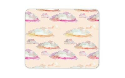 Fluffy Clouds Mouse Mat Pad - Pink Sky Watercolour Girls Gift Computer #13196