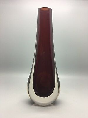 Whitefriars / Geoffrey Baxter Cased Ruby Red Glass Teardrop Vase Cat No.9571