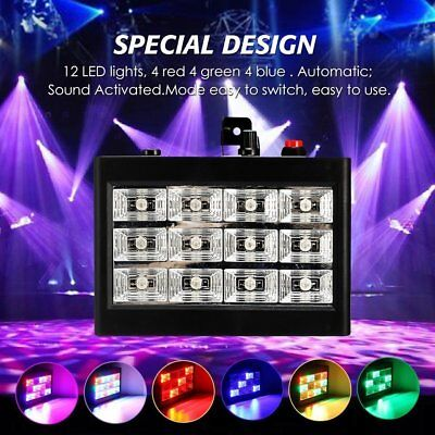 LED Strobe DJ Party Light Effect  RGB Flash Speed Sound Activated Stage Lamp