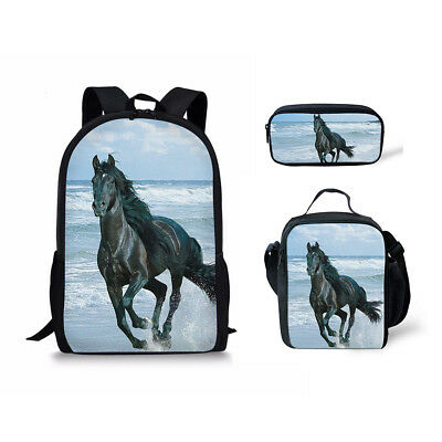 Horse Print School Bag Set Shoulder Satchel Bookbag With Lunch Bags Pen Case Bag