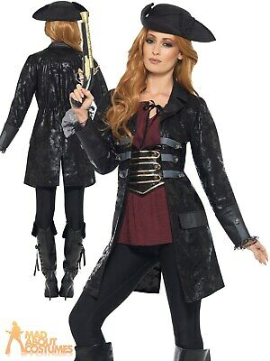Ladies Pirate Jacket Buccaneer Caribbean Shipmate Captain Fancy Dress Womens