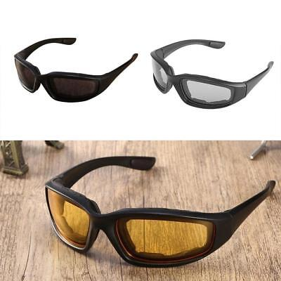 Night Driving Riding Padded Motorcycle Glasses Black Clear Yellow Lens TR