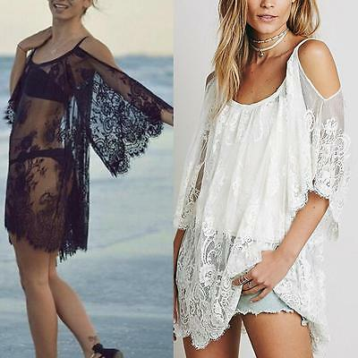 2017 Women Beach Dress Sexy Strap Sheer Floral Lace  Crochet Summer Dresses  TR