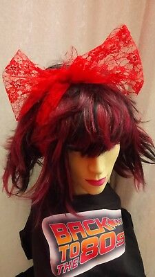 Red Lace Scarf Headband Bow 1980s Fancy Dress Accessory Dance Fame Madonna