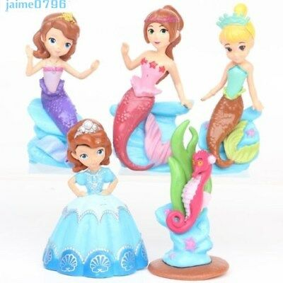 Uk Sofia The First And Mermaid Princess Action Figure Cake Topper Toy 5pcs