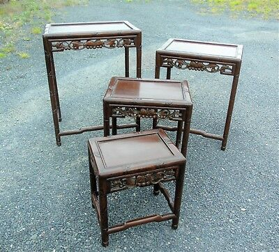 Chinese Style Carved Hardwood Nest of Four Tables