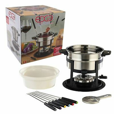 NEW EDGE 12 PIECE 3 IN 1 FONDUE SET Cheese Chocolate Sauce Dip Dipping Fork