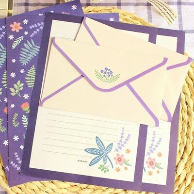 Lovely Flowers Animals Letter 4pcs Writing Stationery Paper and 2 Envelopes Set