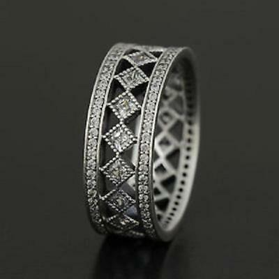 VINTAGE Ring 925 Solid Sterling Silver Fascination Large Pave Band Size 8 / 56