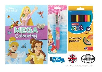 Officially Licensed Disney Princess 32pc Stationery Set Mega Colouring Book Pen