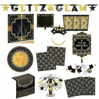 Geometric Gold 20s Gatsby Flapper Hollywood VIP NYE Party Tableware Partyware UK