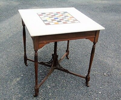 Victorian Walnut Marble Topped Specimen Inlaid Chess Table c1890