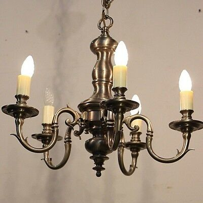 Dutch chandelier in silvered bronze with very long chain and ceiling cup antique
