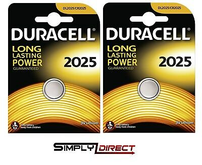 2 x Duracell CR2025 3V Lithium Coin Cell Battery 2025, DL2025, BR2025, SB-T14