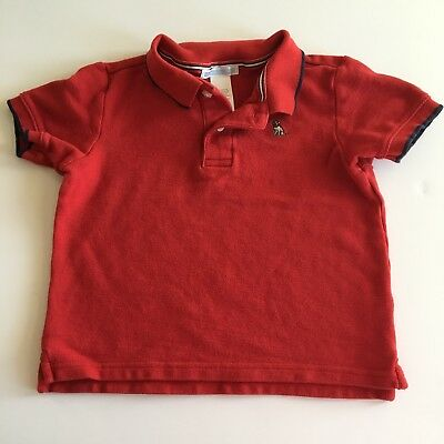 Janie & Jack 2T Shirt Polo Red Navy Trim Puppy Short Sleeve Pique Toddler Boys