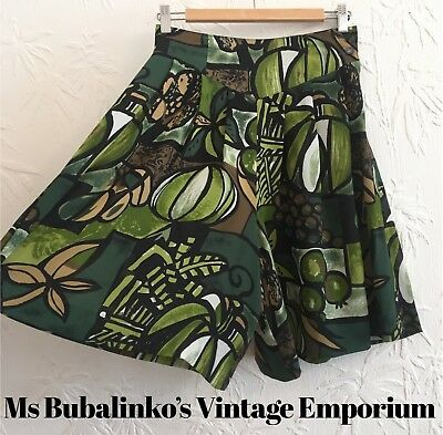 Vintage 90s Green Bold Floral Culottes Shorts Size 8 High Waist Wide Legs