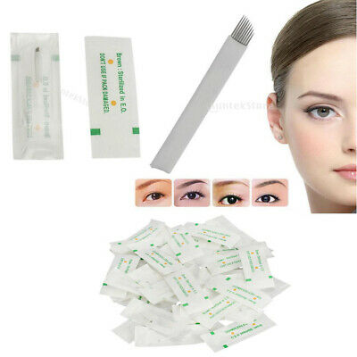 50 Pieces Make Up Microblading Blade Tattoo Needle Eyebrow Shading Permanent