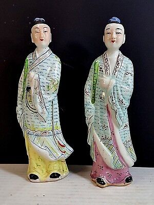 TWO VINTAGE HAND PAINTED PORCELAIN CHINESE FIGURINES, Must See!