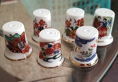 Asian thimbles lot of 6 Japanesse hand painted gilded rare