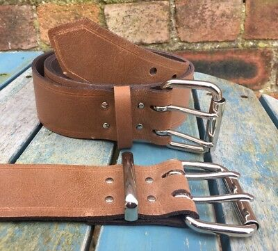 Brown Worn Look Leather Double Prong Belt 2 Inch Wide Hand Made 100% Leather