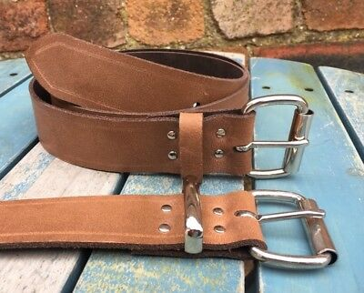 "Brown Worn Look Belt Real Leather Handmade Choice of Buckles & Width 3/4""-1 1/2"""