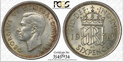 1943 Sixpence 6D Great Britain UK PCGS MS62 Silver - Toned