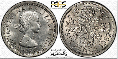 1962 Sixpence 6D Great Britain UK PCGS MS62 - ample luster