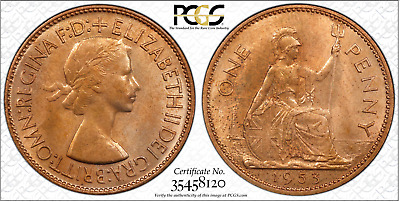 1953 Penny 1D Great Britain UK PCGS MS64RB  - POP 1 only 1 higher