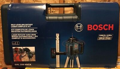NEW Bosch 1,000ft Beam Self Leveling Rotary Laser Level Complete Kit GRL250HVCK