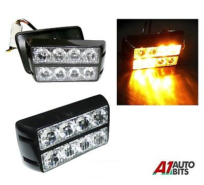 8 LED Amber Strobe Flashing Light Recovery Truck Breakdown Lorry Van Lamp 12-24V