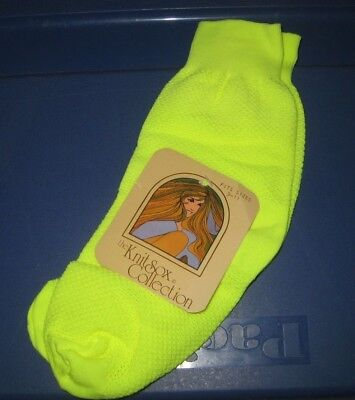 Vintage Neon Yellow Knit Socks - NWT Ladies Size 9-11 - Made In USA