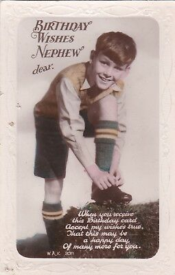 Old Vintage Postcard Rp Children Boy Football Kit Fashion Greetings Bt4