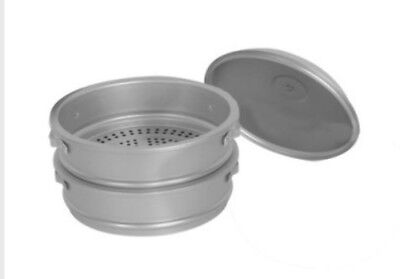 "Thunder Group ALST014 22"" dia. x 21""H Aluminum Steamer Basket Set"