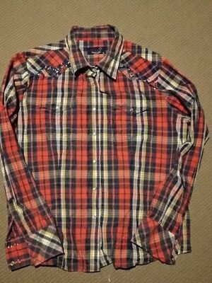 Thomas Cook Ladies Red Check Rhinestone Western Cowgirl Shirt As New 18