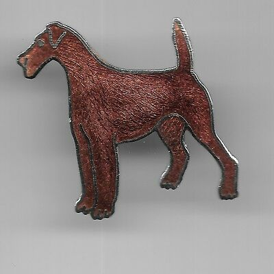 Vintage Airedale Terrier Dog old cloisonne pin