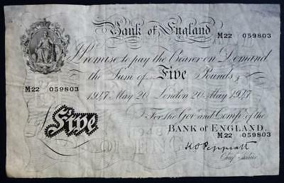 Peppiatt White £5 (five pounds) dated 20th May 1947 (see both images)