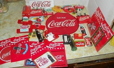 Large Lot of Coke Coca-Cola Memorabilia~Patches/Small Sign/Magnets/Scoop & More