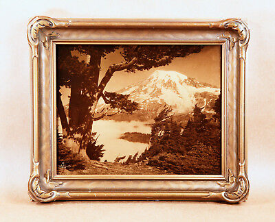 Asahel Curtis Arts & Crafts Orotone Goldtone Photograph Mt. Rainier Edward Frame