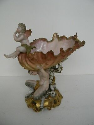Signed Antique Sea Shell  Pan with Cherub